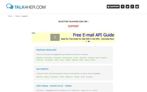 Screenshot of Support Page talk4her.com - Support - captured Oct. 30, 2014