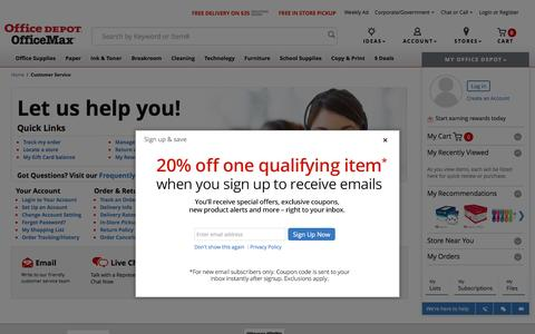 Screenshot of Support Page officedepot.com - Office Depot - Customer Service - captured May 21, 2016