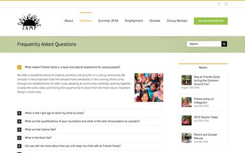 Screenshot of FAQ Page friendscamp.org - Frequently Asked Questions – Friends Camp - captured Aug. 31, 2018