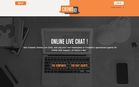 Screenshot of Home Page crowdio.com - Online Live Chat available for business and ecommerce websites. - captured Jan. 23, 2015