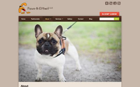 Screenshot of About Page pawsneffect.net - Dog Walking | Pet Care | Pet Emergency Services | Paws-N-Effect | Pawsneffect - captured Oct. 2, 2014