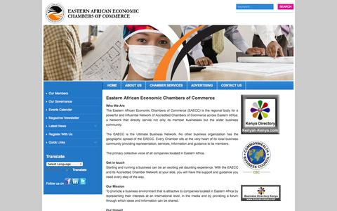 Screenshot of About Page eaecc.com - Eastern African Economic Chambers of Commerce - captured Sept. 26, 2014