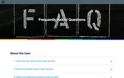 Screenshot of FAQ Page startupdirect.org - Start up loans FAQs - captured Sept. 1, 2019
