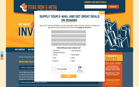Screenshot of FAQ Page texasironandmetal.com - FAQs - Texas Iron and Metal - Steel Supply - captured Sept. 20, 2018