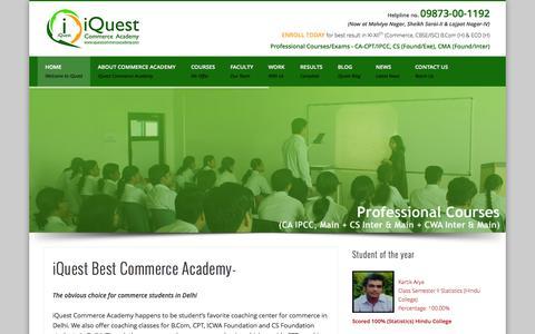 Screenshot of Home Page iquestcommerceacademy.com - Commerce academy in Delhi,CA,CS,Institute in South Delhi-iQuest commerce academy - captured Sept. 30, 2014