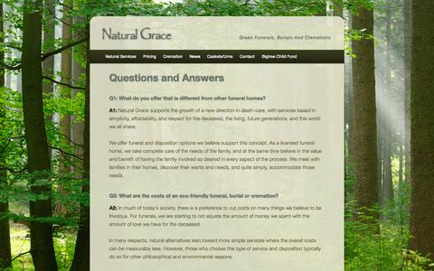 Screenshot of FAQ Page naturalgracefunerals.com - Questions and Answers | Natural Grace - captured Oct. 27, 2014