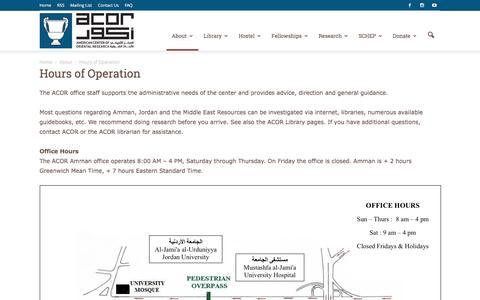 Screenshot of Hours Page acorjordan.org - Hours of Operation - Acor Jordan - captured Nov. 19, 2016