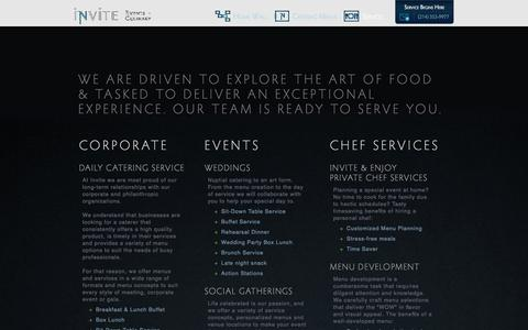 Screenshot of Services Page beginwithinvite.com - Invite Events & Culinary - captured Oct. 6, 2014