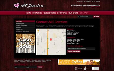 Screenshot of Contact Page Maps & Directions Page aejewelers.com - Contact A&E Jewelers | Oshkosh, WI 54902 - captured Sept. 30, 2014