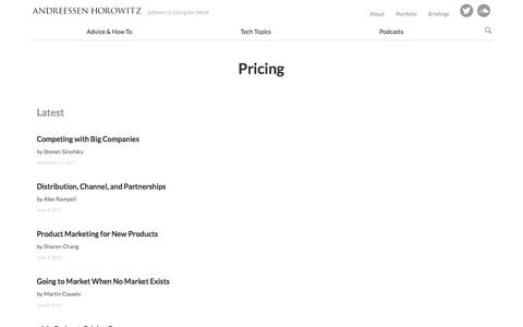 Screenshot of Pricing Page a16z.com - pricing – Andreessen Horowitz - captured Feb. 7, 2018