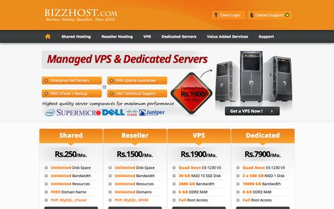 Screenshot of Home Page Site Map Page bizzhost.com - Unlimited Web Hosting @ Rs.500/Year - captured Feb. 7, 2016