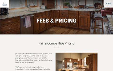 Screenshot of Pricing Page creativecabinetry.com - Fees & Pricing - Creative Cabinetry - Cabinetry Design Center in Breckenridge, Colorado - captured Sept. 30, 2018