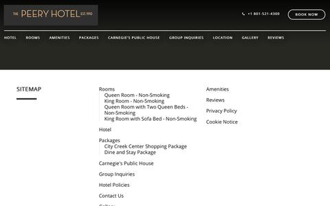 Screenshot of Site Map Page peeryhotel.com - Sitemap–The Peery Hotel, an Ascend Hotel–Salt Lake City–United States of America - captured July 16, 2018