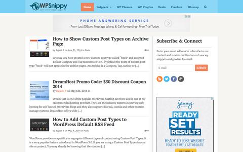 Screenshot of Home Page wpsnippy.com - WPSnippy - Cool WordPress Snippets - captured Sept. 23, 2014