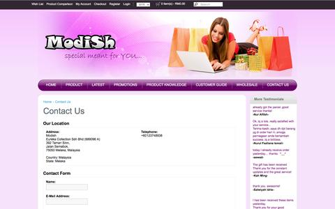 Screenshot of Contact Page modish.com.my - Contact Us - captured May 29, 2016