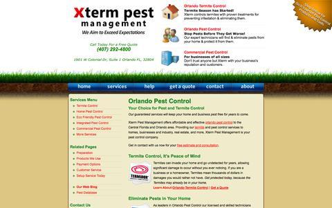 Screenshot of Home Page xtermpest.com - Orlando Pest Control / Xterm Pest Management - captured Oct. 6, 2014