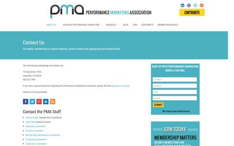 Screenshot of Contact Page thepma.org - Contact Us | The PMA - captured Oct. 31, 2014