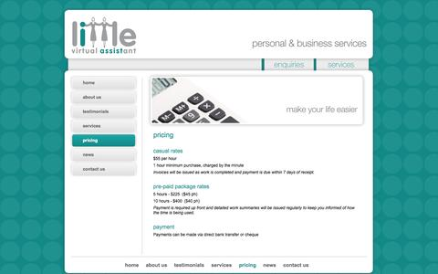 Screenshot of Pricing Page littleva.com.au - Little Virtual Assistant - great rates for professional administrative support - captured Oct. 2, 2014