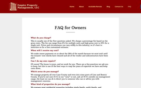 Screenshot of FAQ Page empirepropertymanagement.net - FAQ for Owners | Empire Property Management - captured Aug. 3, 2017