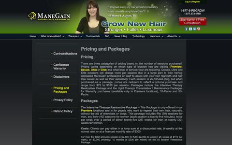 Screenshot of Pricing Page manegain.com - Pricing and Packages | ManeGain - captured Sept. 30, 2014