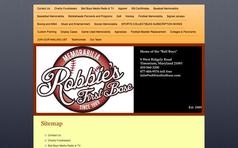 Screenshot of Site Map Page robbiesfirstbase.com - Contact Us - captured Oct. 25, 2018