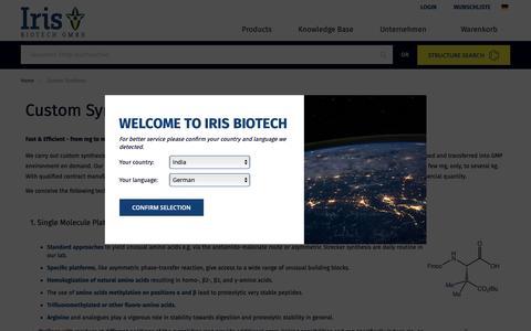 Screenshot of Services Page iris-biotech.de - Custom Synthesis - captured Dec. 19, 2018