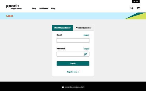 Screenshot of Login Page koodomobile.com - Log in | Koodo Mobile - captured Nov. 22, 2019