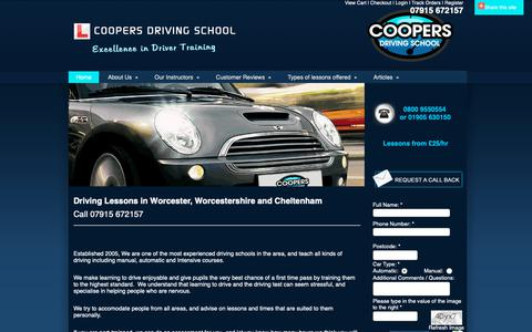 Screenshot of Home Page coopers-driving-school.com - Driving Lessons Worcester | Coopers Driving School Worcestershire - captured Oct. 22, 2018