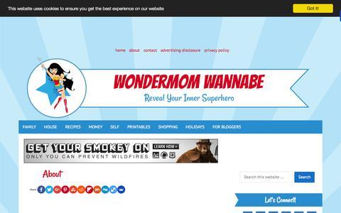 Screenshot of About Page wondermomwannabe.com - About - captured Oct. 21, 2015