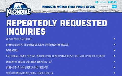 Screenshot of FAQ Page klondikebar.com - FAQs | Frequently Asked Questions | Klondike® - captured Oct. 30, 2017