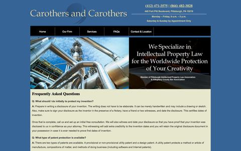 Screenshot of FAQ Page pittsburghpatentfirm.com - Intellectual Property Law   Pittsburgh, PA   FAQs - captured June 29, 2018