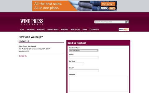 Screenshot of Support Page winepressnw.com - WinePress NW Kennewick, WA - captured Oct. 26, 2014
