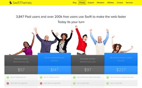 Screenshot of Pricing Page swiftthemes.com - Plans & Pricing - captured Jan. 13, 2016