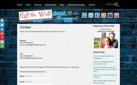 Screenshot of Contact Page offthewallsocial.com - Contact - Off the Wall Social Media Off the Wall Social Media - captured Nov. 28, 2016