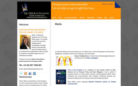 Screenshot of Press Page deborahswallow.com - Media « Dr Deborah Swallow – Global Cultural Diversity - captured Oct. 6, 2014