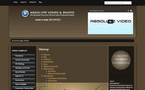 Screenshot of Site Map Page absolutevideoandphoto.com - Sitemap | Absolute Video and Photo - captured Oct. 4, 2014