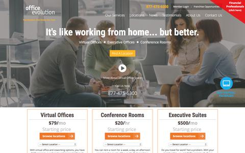 Screenshot of Home Page officeevolution.com - Virtual Office | Shared Space | Meeting & Conference Rooms - captured Jan. 11, 2016