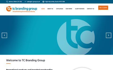 Screenshot of Home Page tc-group.co.uk - Promotional Products and Branded Merchandise in High Wycombe - captured Sept. 20, 2018