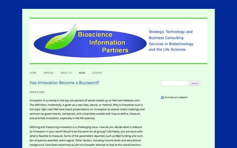 Screenshot of Blog biosciinfo.com - Blog | Bioscience Information Partners (BIP) - captured Oct. 5, 2014