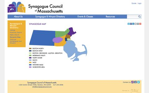 Screenshot of Maps & Directions Page synagoguecouncil.org - Synagogue Map | Synagogue Council of Massachusetts - captured Dec. 1, 2016