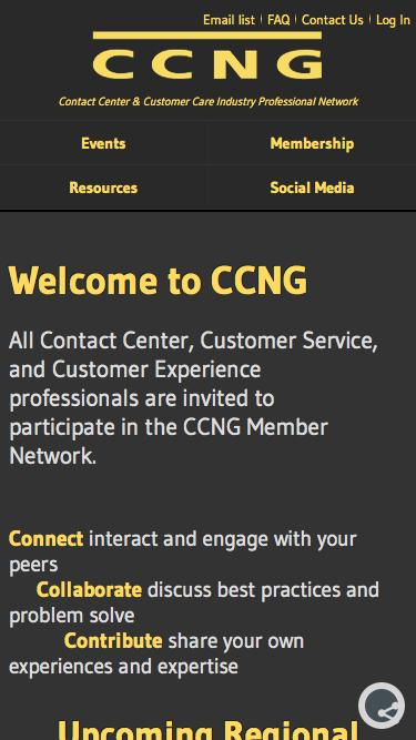 Screenshot of About Page Privacy Page Contact Page Signup Page Login Page  ccng.com - CCNG :: Contact Center & Customer Care Industry Professional Network