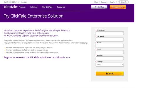Screenshot of Trial Page clicktale.com - Try ClickTale Enterprise Solution - captured Oct. 28, 2014