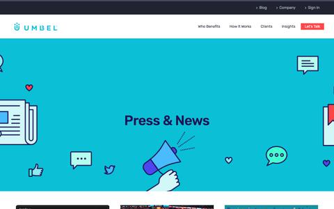 Screenshot of Press Page umbel.com - News & Press Releases | Umbel | Umbel - captured Sept. 1, 2017