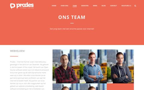 Screenshot of Team Page prodes.nl - Ons Team - Prodes - Internet Partner - captured March 17, 2016