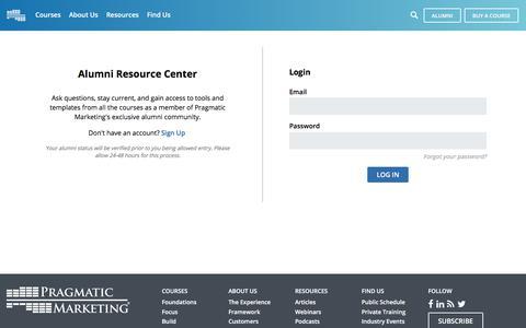 Pragmatic Marketing Alumni Center - Login