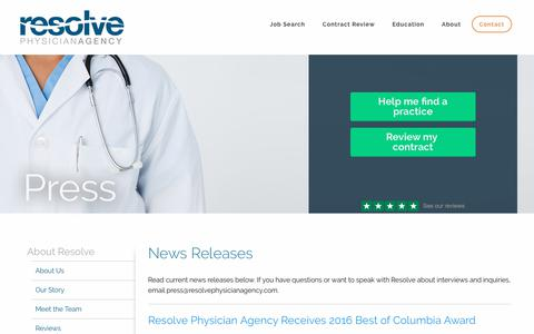Screenshot of Press Page resolvephysicianagency.com - Press Releases - Resolve Physician Agency - captured June 27, 2017