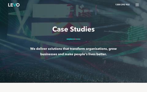 Screenshot of Case Studies Page levo.com.au - Case Studies - captured July 31, 2017