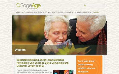 Screenshot of Blog sageagestrategies.com - Wisdom | Sage Age Strategies - captured Sept. 30, 2014
