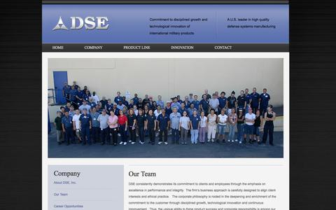 Screenshot of Team Page dse.net - DSE Our Team - Defense Systems Manufacturing - DSE - captured Oct. 5, 2014