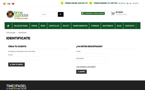 Screenshot of Login Page time2padel.com - Iniciar sesión - Time2padel - captured June 17, 2017